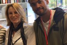 Still of Anna and Dev Griffin after filming an interview for the BBC Radio 1 program