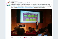 Tweet from Wellcome Genome Campus Public Engagement team during talk