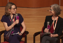 Anna Middleton and Jennifer Doudna, inventor of CRISP-Cas9. Dr Doudna moderated the panel discussion Anna participated on.